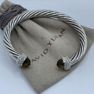 David Yurman Sterling Silver Candy Smoky Topaz  & Diamond 7mm Cable Bracelet