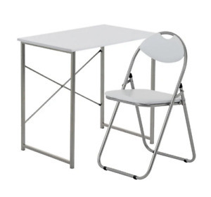 Industrial Office Desk & Chair Set - 2 Piece White/White Ideal Solution Perfect