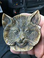 Vintage Unique Brass Cat Head Ashtray/Trinket Dish - Amazing Details!!!
