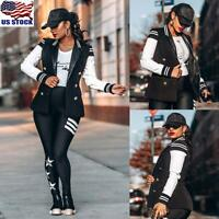 Womens Button Bomber Coat Jacket Ladies Long Sleeve Baseball Blazer Tops Outwear