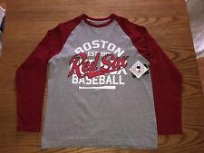 BOSTON RED SOX MLB NEW ERA MENS RAGLAN LONG SLEEVE RED/GRAY SHIRT L-XL