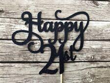 Happy 21st Cake Topper - Black Glitter Twenty One birthday topper, 21 decor