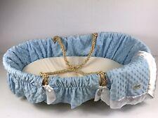 Wendy Anne Bassinet Basket With Blue Bedding - Soft Wicker