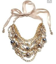 NWT Ali Khan Collectibles Pile Of Pearls Multi Strand Ribbon Pearl Necklace $220