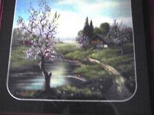 Bild mit Bauernhof mit blühenden Bäumen, gehört zu 2 anderen, mit Rahmen, 35x35
