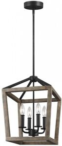 Chandelier 12 in. W. 4-Light Steel Weathered Oak Wood and Antique Forged Iron