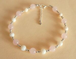 Gemstone Crystal Healing Rose Quartz Pearl Love Relationships Anklet Bracelet GB