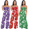Women Colorfull Print Wide-leg Pants Strapless Ruffled Two-Piece Set Jumpsuits