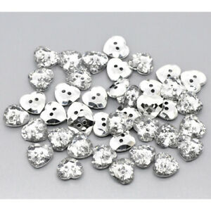 25 Acrylic Sewing Buttons 2 Holes heart Clear & Silver Plated Faceted 12mm