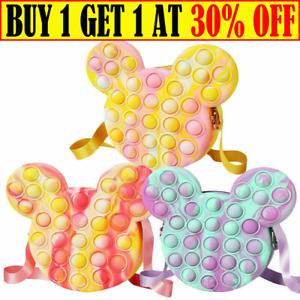 Popet Bubble Fidget Sensory Popit Bag Toy Coin Purse Wallet Handbag Girls Gift G