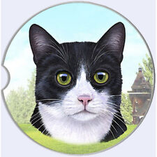 Black & White Cat Auto Coasters