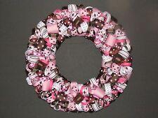Pink and Brown Polka Dots Ribbon Wreath