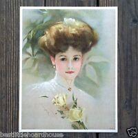 Vintage Original YELLOW ROSE VICTORIAN STONE LITHOGRAPH PRINT 1909 nos unused