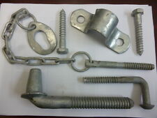 RURAL FARM GATE FITTING HINGE SET KIT & POST LOCK CHAIN WIRE FENCING GAL TIMBER