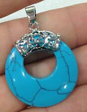 New Natural Blue Turquoise Necklace Gemstone Pendant 18KGP