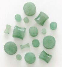 1 Pair 0g Organic Green Jade Aventurine Stone Saddle Plugs Ear Gauges 8mm