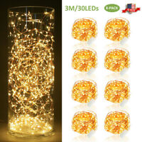 8X 30 LED Copper Wire String Fairy Lights 3M Xmas Decoration Battery Operated