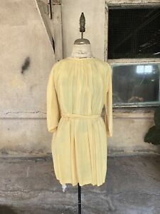Antique 1930s Yellow Silk Oversized Blouse Top Mini Dress Belt Bat Sleeves Vtg