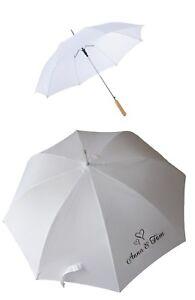 Schirm Hochzeit weiß mit Datum oder Namen personalisiert Regenschirm Braut
