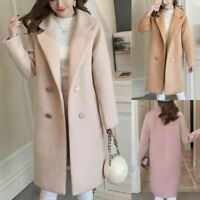 Women Winter Wool Lapel Trench Parka Coat Jacket Long Slim Overcoat Outwear UK