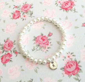 Personalised Pearl Bracelet With Initial Charm! Stunning Gift!
