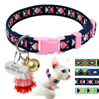 Cat Collar with Bell Personalized Kitten ID Tag Polyester Kitty Collars Engraved