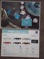 PEUGEOT 306 CABRIOLET orig 1994 UK Mkt Sales Brochure + Price / Colour Chart