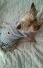 Hand knitted dog jumper / sweater for small dog chihuahua / mini yorkie. Grey