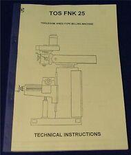 TOS Finessa FNK 25 Turret Milling Machine Manual