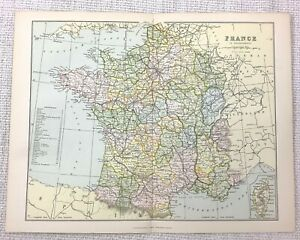1897 Antique Map of France French Regional Departments Government Regions