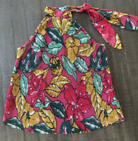 Women's Maeve By Anthropologie Multicolor Floral Sleeveless Neck Tie Blouse Xs