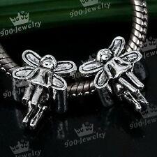 5x Tibetan Silver Angel Fairy Girl European Spacer Loose Bead Fit Charm Bracelet