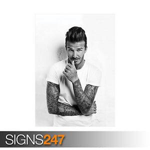 DAVID BECKHAM WHITE T-SHIRT (2061) Celebrity Poster - Poster Print A1 A2 A3 A4