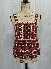 H&M Aztec Print Black White Red Tank Top Tunic Blouse Size 6