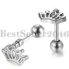 1Pair New Charm Women Elegant Silver Rhinestone Small Crown Ear Stud Earrings