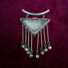 Diy embedded triangle necklace pendant Tribal Handmade Miao silver bell tassels