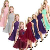 Womens High Low Chiffon Bridesmaid Short Dress Evening Party Cocktail Prom Gown