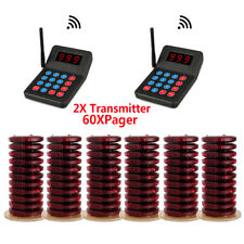 Restaurant Wireless Page Queuing System:2XTransmitters+60XCoaster Pagers 433MHz
