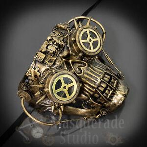 Mens Steampunk Cyborg Skeleton Halloween Costume Masquerade Mask [Gold]