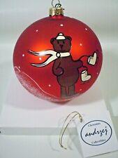 "Andrzej Glass Ornament Hand Made In Poland Large Christmas Ball Teddy Bear 15"""