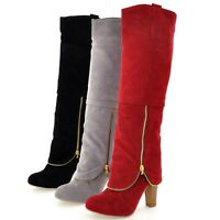 Ladies knee length Boots suede Celebrity Zip Superb Fashion long booties UK 0-8