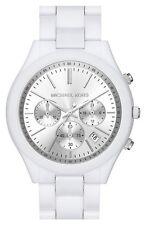 Michael Kors MK6254 Runway Chronograph Silver Dial White Watch - 2 Yrs Warranty