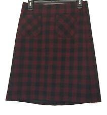 J. Jill Buffalo Plaid Skirt Red Black XS Maroon Pockets Stretch Checkered