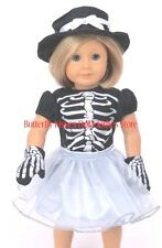 Sassy Skeleton Costume, Hat, Gloves18 in Doll Clothes Fits American Girl