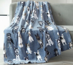 Super Soft Plush Throw Blanket 50X60 Blue with Dogs Fleece
