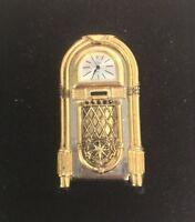 Timex Collectible Miniature Jukebox Desk Clock Brass Accents Japan Movement NIB
