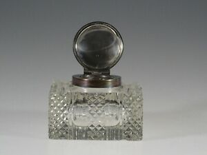 Vintage English Cut Glass Crystal Inkwell Birmingham Sterling Lid 1898