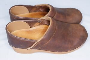 Sanita Clogs Shoes Women's Brown Leather - EU 38 (US 7.5-8). C9. 2K