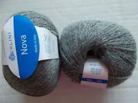 Berlini Nova alpaca blend  yarn, heather gray, lot of 2 (185 yds each)