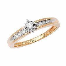 9Carat Yellow Gold Solitaire Engagement Fine Diamond Rings